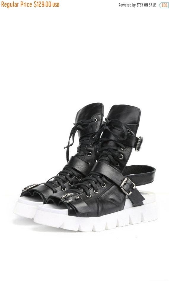 40% OFF Genuine Leather Sandals/White Sole Shoes/Extravagant Cut Out Flats/Black Leather Summer Shoes/Comfy Platform Flats/Thick Sole Sandal
