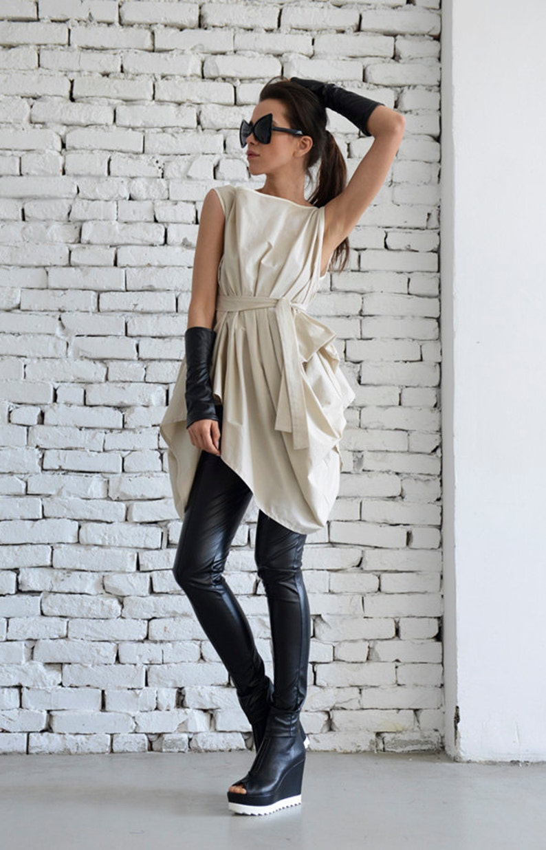 Beige Asymmetric Top/Long Casual Top/Belted Loose Shirt/Maxi image 0