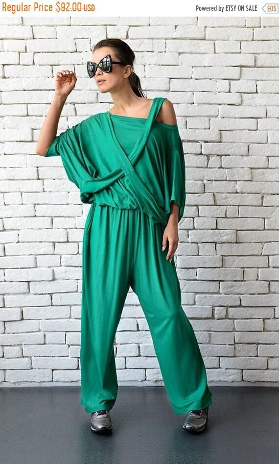25% OFF Green Loose Jumpsuit/Extravagant Wide Leg Pants/Asymmetric Harem Pants/Plus Size Overall/Green Maxi Jumpsuit/Green Summer Casual Jum