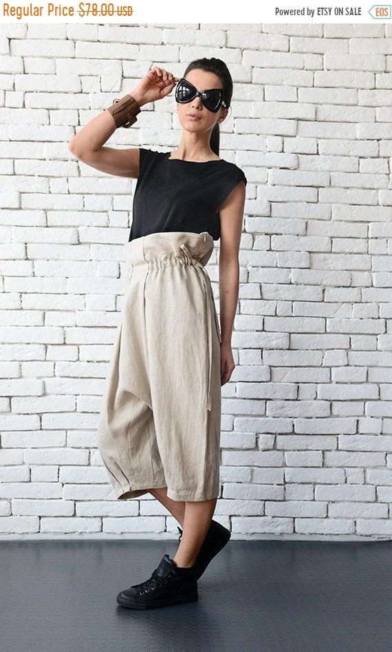 20% OFF Beige Loose Harem Pants/Maxi Linen Pants with Belt/Draped Drop Crotch Pants/Spring Maxi Pants/Midi Casual Pants/Linen Capris METP000
