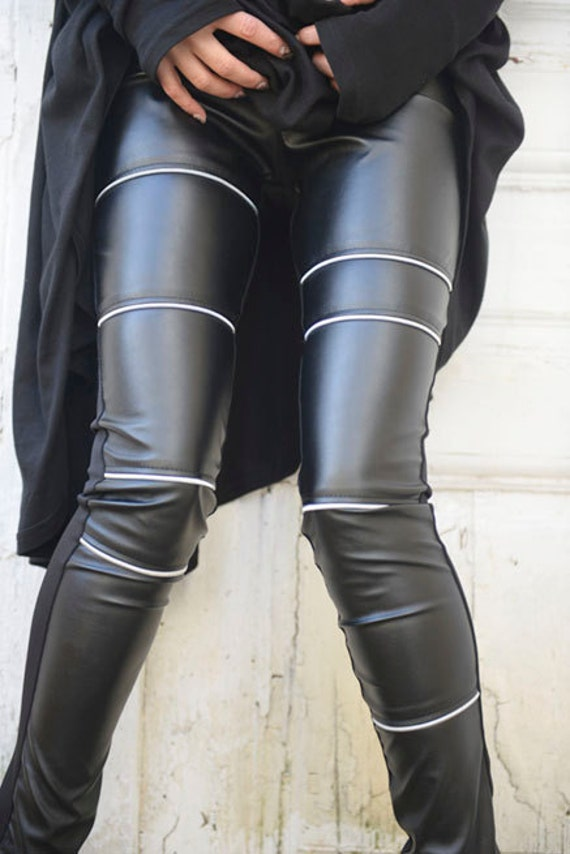 Black Leather Tight Fit Pants / Sexy Zipper Leather Leggings / Front Leather Pants with Cotton Back / Long Slim Fit Pants by METAMORPHOZA