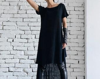SALE Loose Long Black Top/Oversize Tunic/Asymmetric Short Black Dress/Short Long Top/Short Sleeve Tunic Top/Casual Black Tunic by METAMORPHO