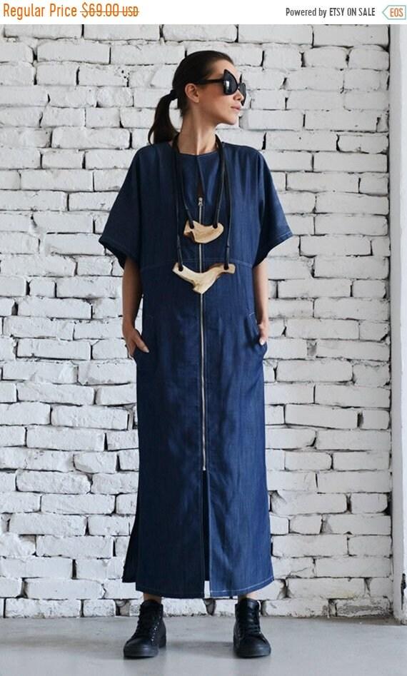 Sale Long Denim Dressshort Sleeve Kaftanblue Maxi Dressplus Etsy