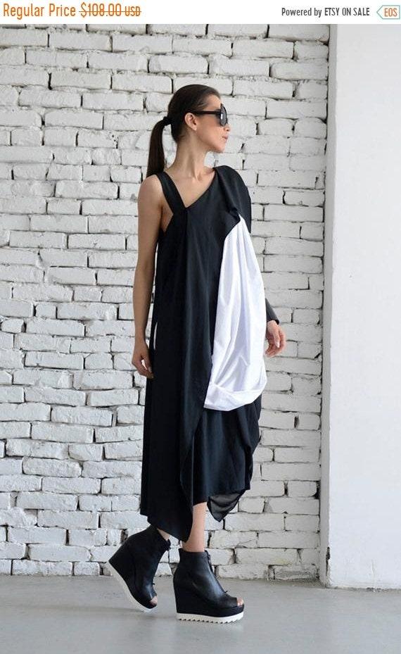 20% OFF Black and White Dress / Long Black Dress / Maxi Black Dress / Asymmetric black dress / Asymmetrical white dress