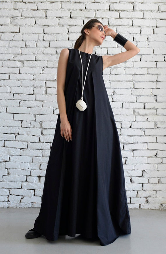 Plus Size Maxi Dress/Loose Kaftan/Casual Sleeveless Dress/Front Zipper  Black Dress/Oversize Tunic/No Sleeve Cotton Dress/Everyday Dress