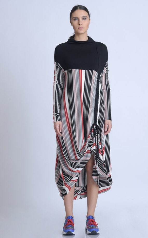 NEW Extravagant Stripe and Black Dress/Long Loose Dress/Colorful Stripe Dress/Casual Comfortable Tunic Dress/Long Sleeve Kaftan METD0148