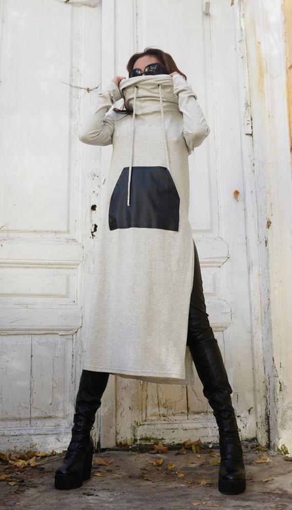 Grey Oversize Cowl Tunic Dress / Long Sleeve Dress / Leather Pocket Casual Tunic / Oversize Long Top by METAMORPHOZA