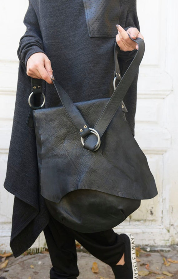 Genuine Leather Black Bag / High Quality Tote / Extravagant Asymmetrical Shoulder Bag by METAMORPHOZA