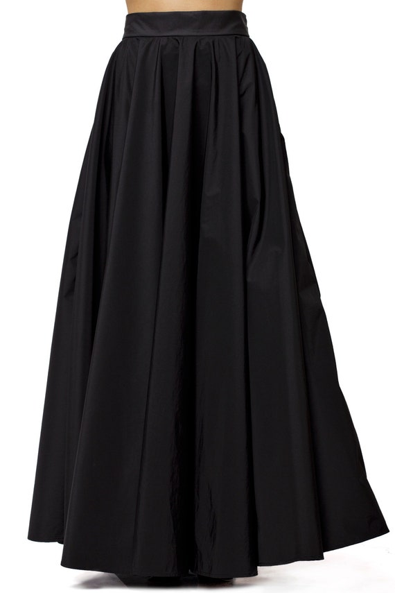 Maxi Black Skirt / Long Black Skirt / High Waist A Line Skirt / Oversize Long Skirt/ Casual Black skirt / Loose Sexy Skirt by METAMORPHOZA