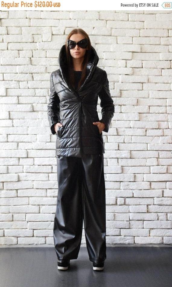 25% OFF Extravagant Black Jacket/Oversize Collar Coat/Black Quilted Coat/Long Winter Jacket/Casual Black Coat/Plus Size Cardigan/Black Coat
