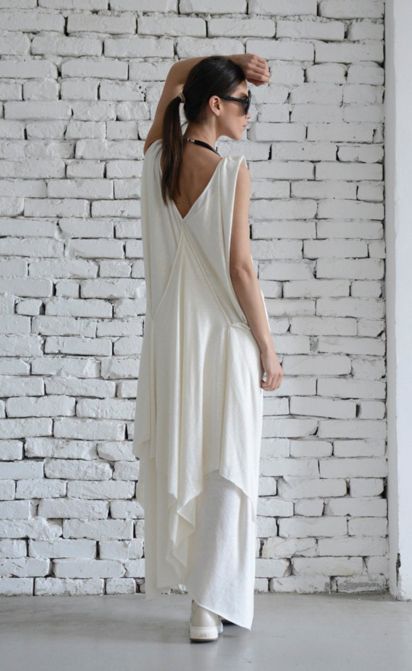 61190617119 ... Maxi Dress Sleeveless Loose Kaftan Casual White Dress Summer Oversize  Tunic Plus Size Dress by METAMORPHOZA. gallery photo gallery photo gallery  photo ...