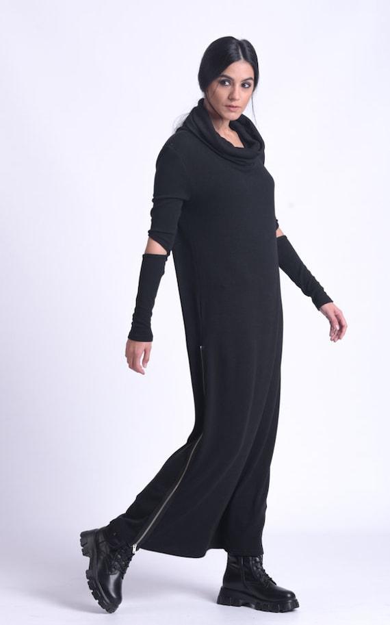 Long Sleeve Loose Dress/Black Turtleneck Dress/Casual Zipper Dress/Winter Knitted Dress/Comfortable Everyday Dress/Oversize Dress METD0