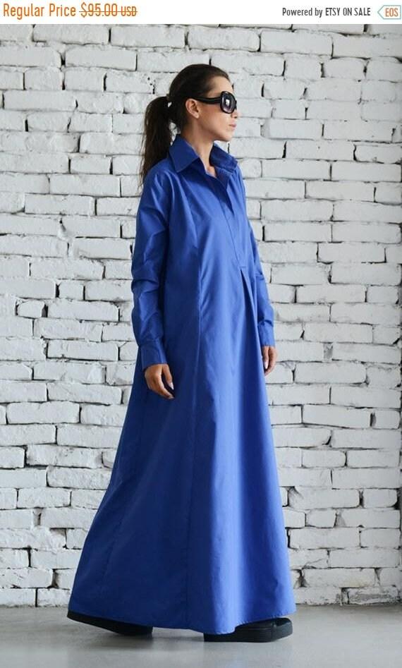 20% OFF Blue Maxi Dress/Plus Size Kaftan/Extravagant Shirt Dress/Oversize Loose Dress/Blue Kaftan/Long Casual Dress/Plus Size Maxi Dress MET