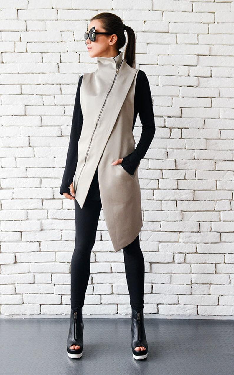 Beige Elegant Zipper Vest/Asymmetric Casual Long image 0