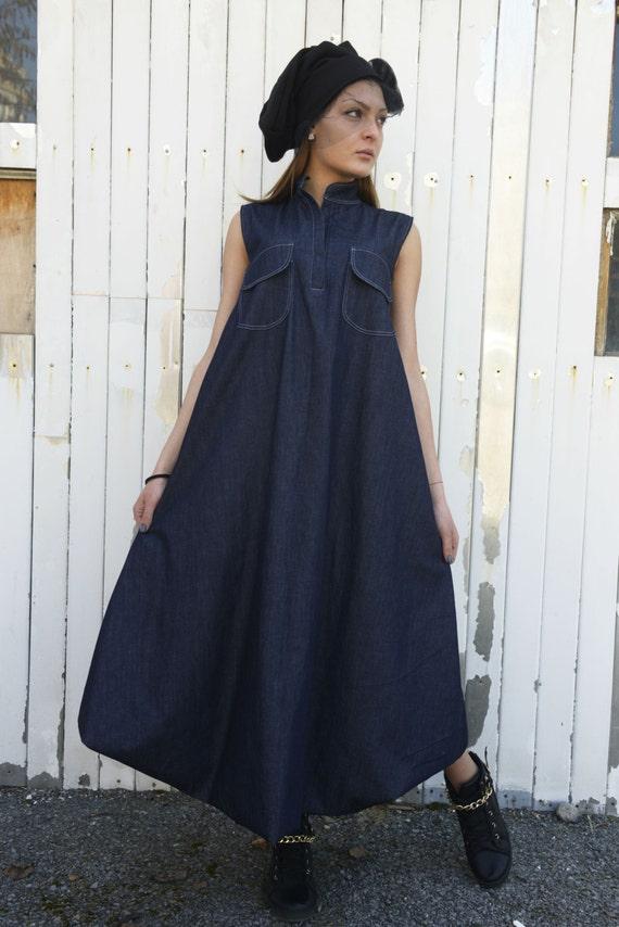 Denim Maxi Dress / Blue Jean Dress / Dark Blue Kaftan / Oversize Denim  Dress / Plus Size Maxi Dress / Jean Loose Dress by METAMORPHOZA