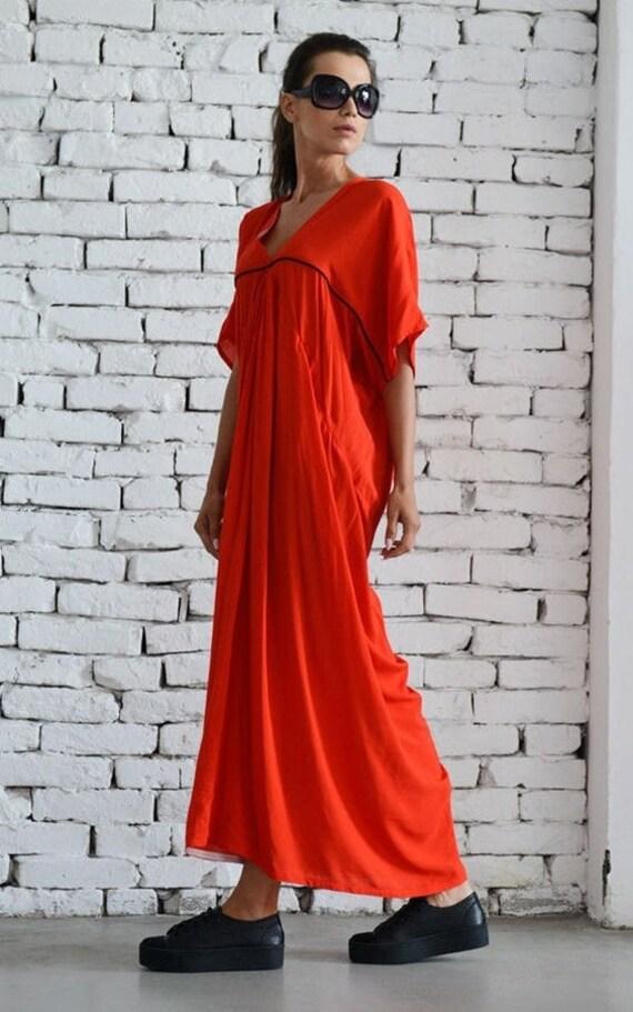 35% OFF Extravagnt long dress / Long Red Dress / Party dress / Maxi Dress /  Kaftan / V - Shape Neck Dress / Daywear dress by METAMORPHOZA