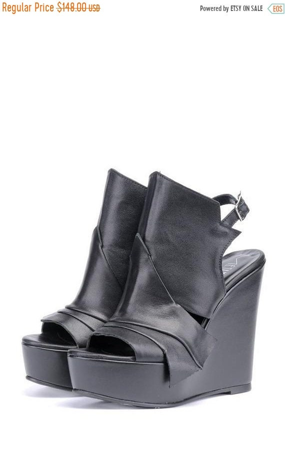 40% OFF Extravagant Black Leather Sandals/Genuine Leather Summer Heels/Black Leather Shoes/Leather Wedges/Black High Heels/Platform Shoes