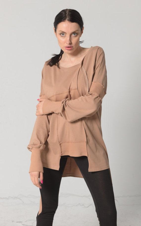 NEW Loose Top Women / Beige Tunic / Asymmetric Tunic / Plus Size 24 / Urban Clothing / Christmas Gift / Plus Size Tunic Tops / Maxi Tunic
