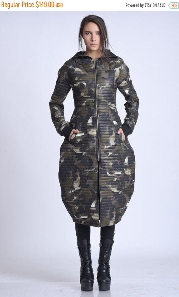 10% OFF NEW Camouflage Long Coat/Extravagant Army Long Jacket/Green Military Coat/Camo Long Loose Coat/Warm Long Jacket/Casual Camo Pattern