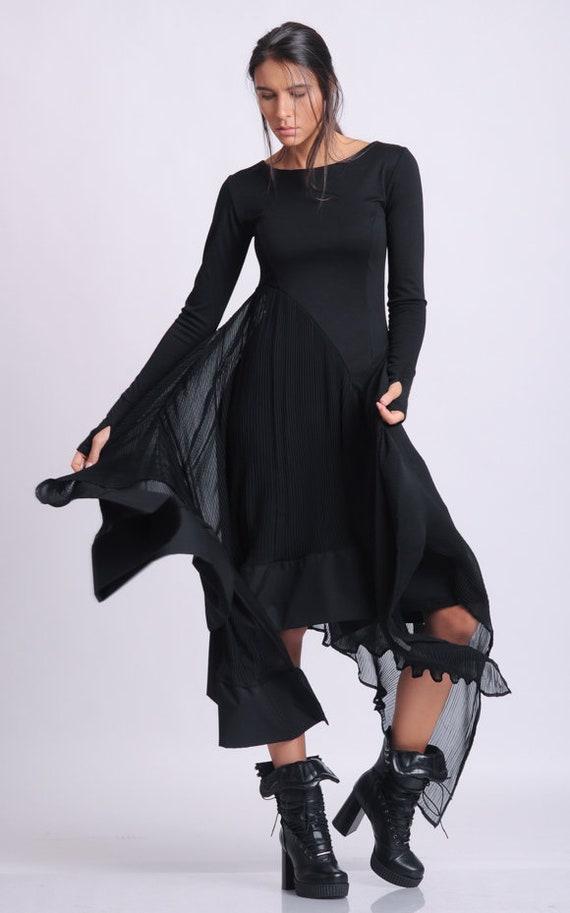 Black Asymmetric Long Sleeve Dress by METAMORPHOZA