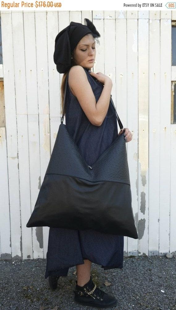 15% OFF Genuine Leather Bag / Shoulder Woman Bag / Asymmetrical Oversize Bag / Large Bag by METAMORPHOZA