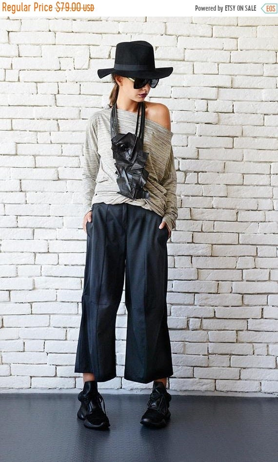 20% OFF Black Loose Pants/Black Maxi Pants/3/4 Pants/Black Casual Capris/Wide Leg Trousers/Middle Ankle Pants/Oversize Black Pants METP0036