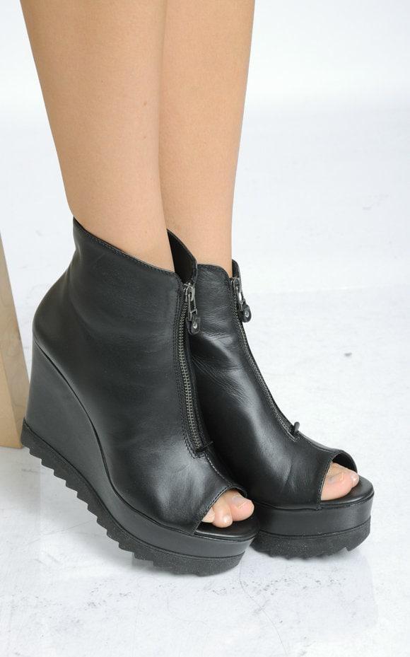 8faa6cdb65 NEW Genuine Leather Black Boots Open Toe Zipper Heels Black Leather ...