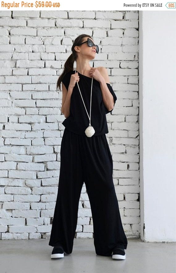 15% OFF Black Sleeveless Jumpsuit / Wide Leg Pants / Black Loose Jumpsuit / Oversize Harem Pants / Summer Casual Jumpsuit by METAMORPHOZA