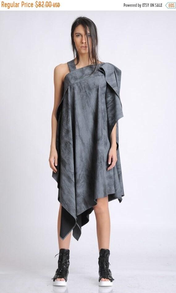 20% OFF Asymmetric Loose Tunic/Extravagant Short Dress/Sleeveless Oversize Long Top/Plus Size Maxi Tunic/Grey Pattern Casual Tunic METT0136