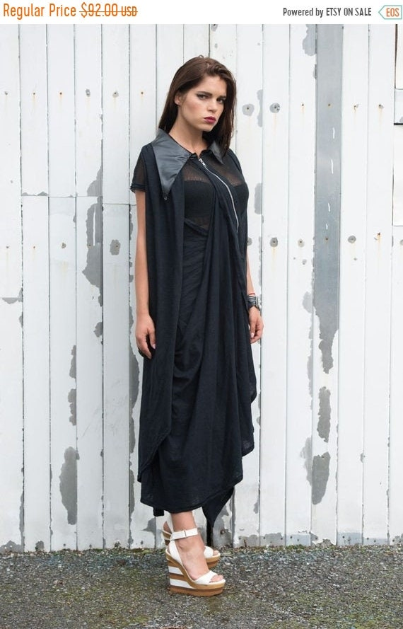 20% OFF Asymmetric Collar Maxi Black Dress/Extravagant Mesh Black Maxi Dress/Asymmetric Long Dress/Loose Black Dress/Leather Collar Dress ME