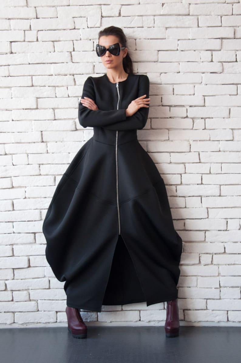 Black Neoprene Dress/Extravagant Long Coat/Asymmetric Maxi image 0