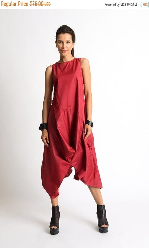 20% OFF Red Extravagant Dress/Long Short Casual Dress/Red Kaftan/Loose Tunic Dress/Sleeveless Maxi Dress/Asymmetric Tunic Dress/Red Dress ME
