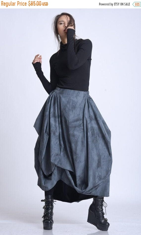 25% OFF NEW Loose Maxi Skirt/Asymmetric Pattern Skirt/Plus Size Maxi Skirt/Extravagant Pattern Skirt/Casual Oversize Skirt/Elastic Waist Ski