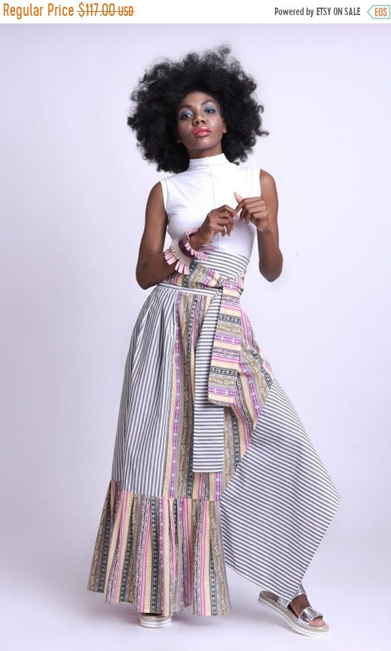 35% OFF Stripe and Pattern Skirt/Extravagant Colorful Skirt/High Waist Long Skirt/Multi Color Asymmetric Skirt/Loose Long Skirt