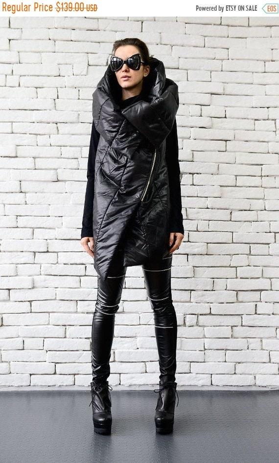 25% OFF Black Sleeveless Coat/Extravagant Loose Jacket/Hooded Vest/Asymmetric Quilted Tunic/Warm Black Blazer/Plus Size Top/Black Coat METC0