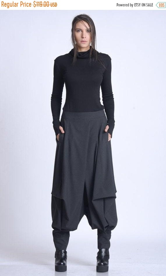 20% OFF NEW Plus Size Pants/Oversize Black Trousers/Drop Crotch Pants/Black Skirt Pants/Casual Harem Pants/Black Maxi Pants/Everyday Gypsy P