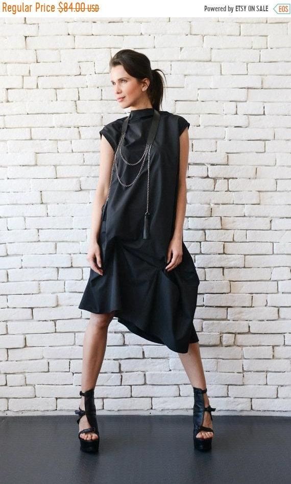 SALE Black Asymmetric Dress/Plus Size Maxi Dress/Oversize Tunic Top/Loose  Black Dress/Casual Maxi Dress/Extravagant Black Tunic/Open Back To