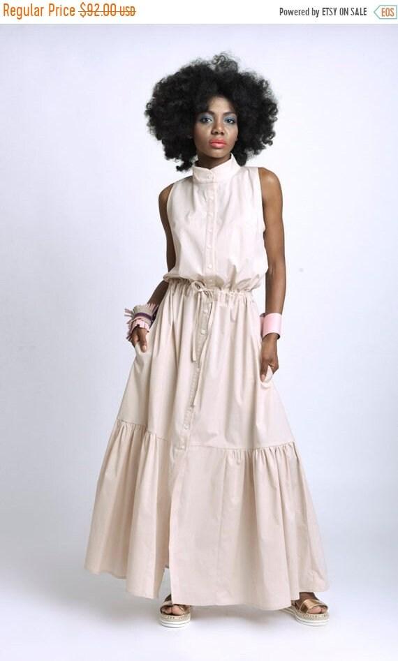 35% OFF Long Loose Dress/Extravagant Sleeveless Kaftan/Casual Shirt Dress/Long Maxi Dress/Loose Collar Dress/Adjustable Waist Dress