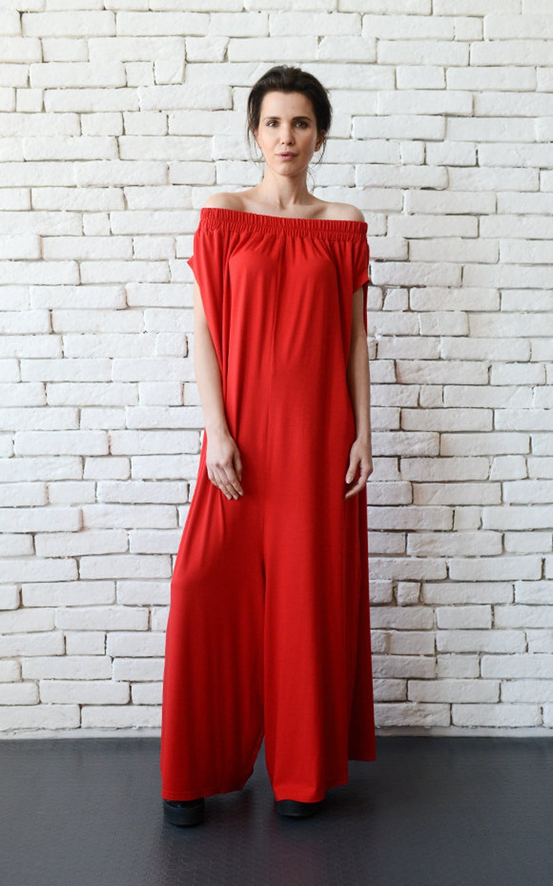 ea39c7a2a32 Plus Size Red Jumpsuit Oversize Long Overall Casual Red Maxi