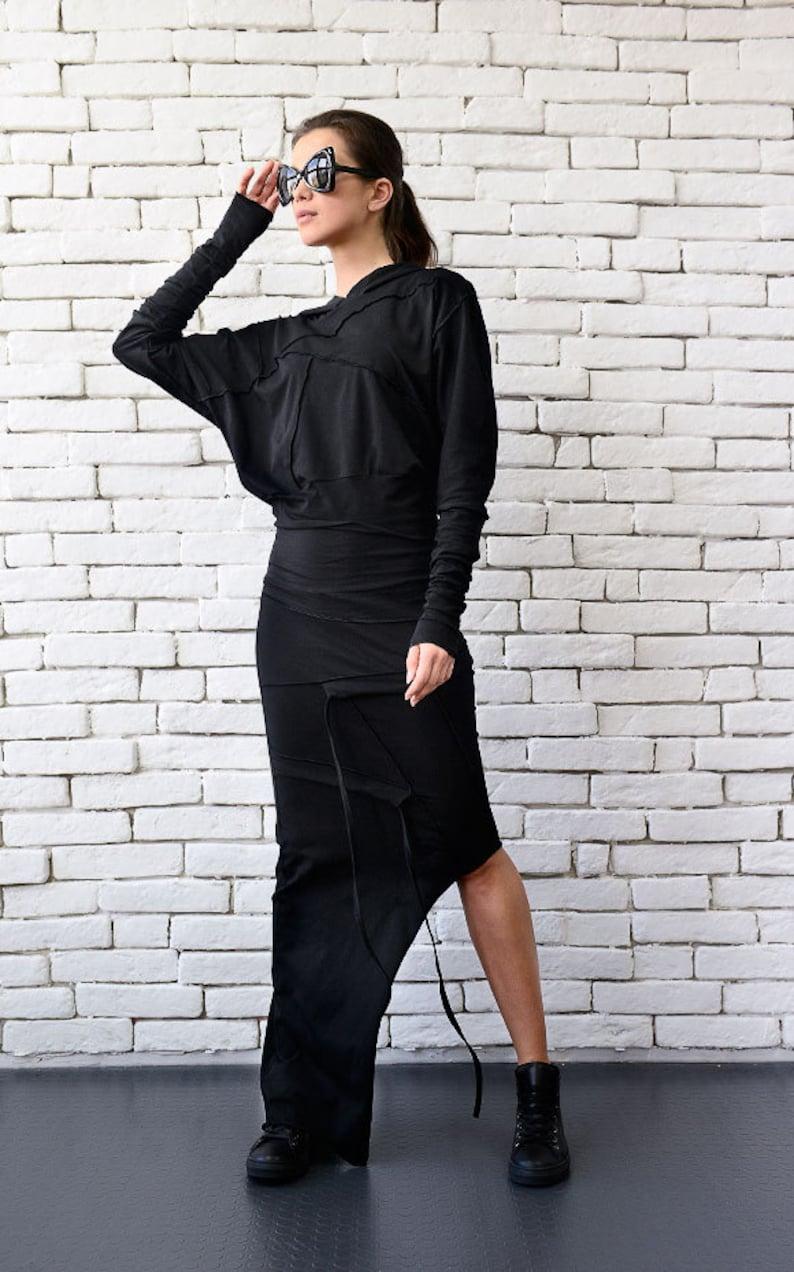 Black Hooded Dress/Asymmetric Dress/Loose Extravagant image 0