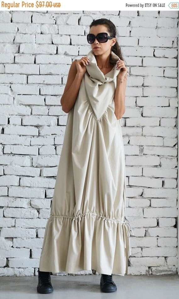20% OFF Asymmetric Loose Long Dress/Cream Color Kaftan/Oversize Sleeveless Dress/Evening Formal Gown/Champagne Maxi Dress/Extravagant Prom D