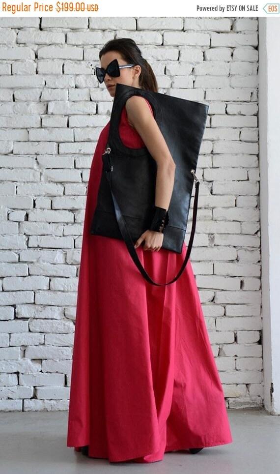 15% OFF Black Maxi Bag/Extravagant Circle Tote/Genuine leather Black Bag/Large Shoulder Bag/ Open Front Leather Clutch/Black Leather Large T