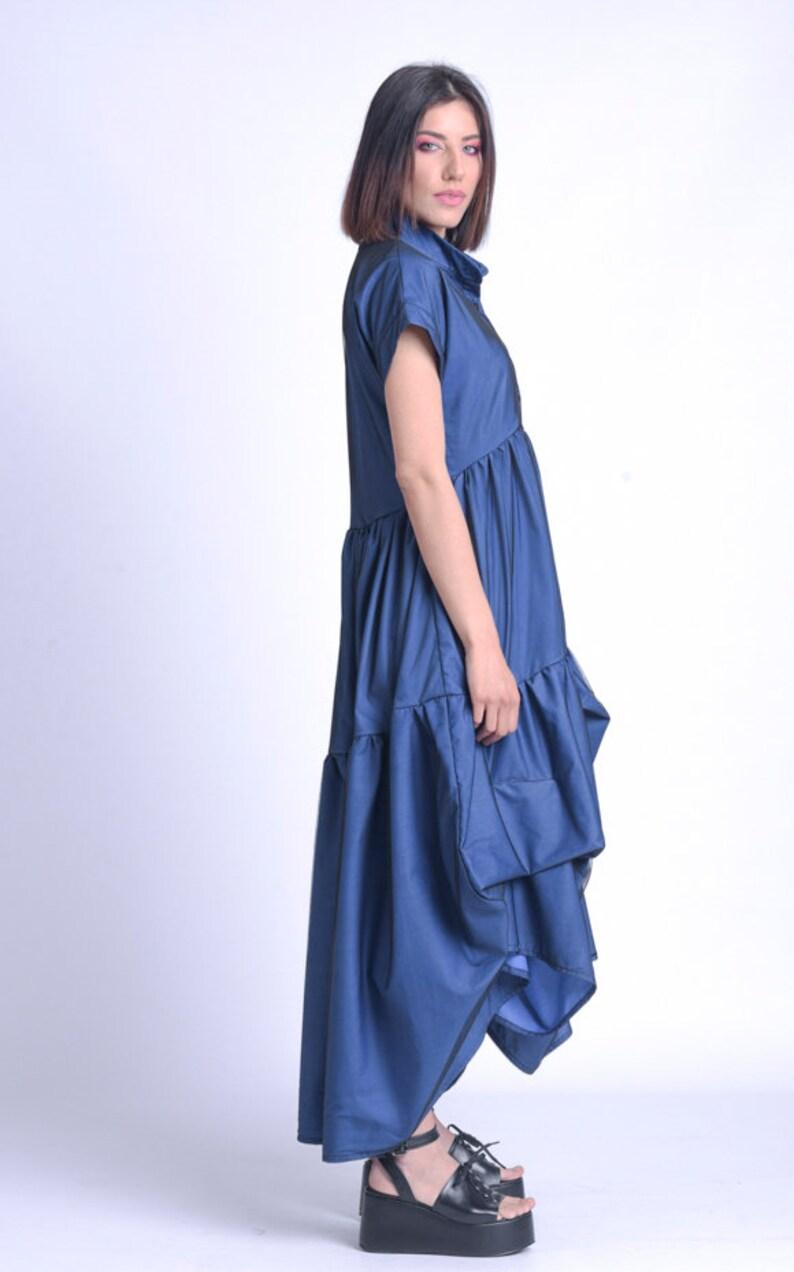 High Waist Maxi DressMesh Layer DressAsymmetric Blue Dress DressPlus Size Maxi DressLong Loose DressShort Sleeve Shirt Dress METD0154