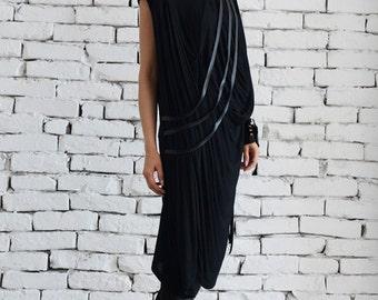 Maxi Dress/ Loose Black Dress/ Dress/ Long Tunic/ Asymmetric / Asymmetric tunic / Black Asymmetrical tunic