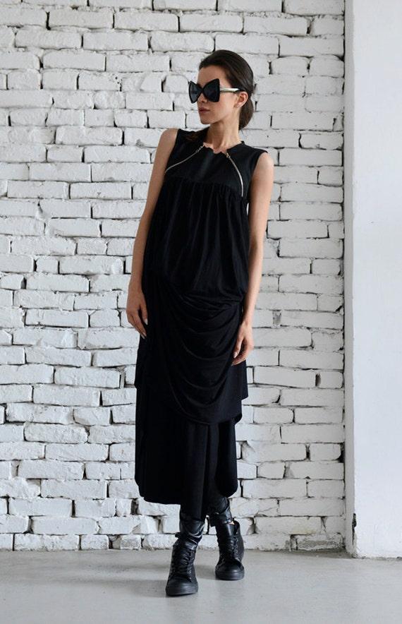 Long Asymmetrical Tunic/Draped Tunic/Black Zipper Dress/Black Dress/Long Draped Tunic/Asymmetric Loose Tunic/Extravagant Top METT0030