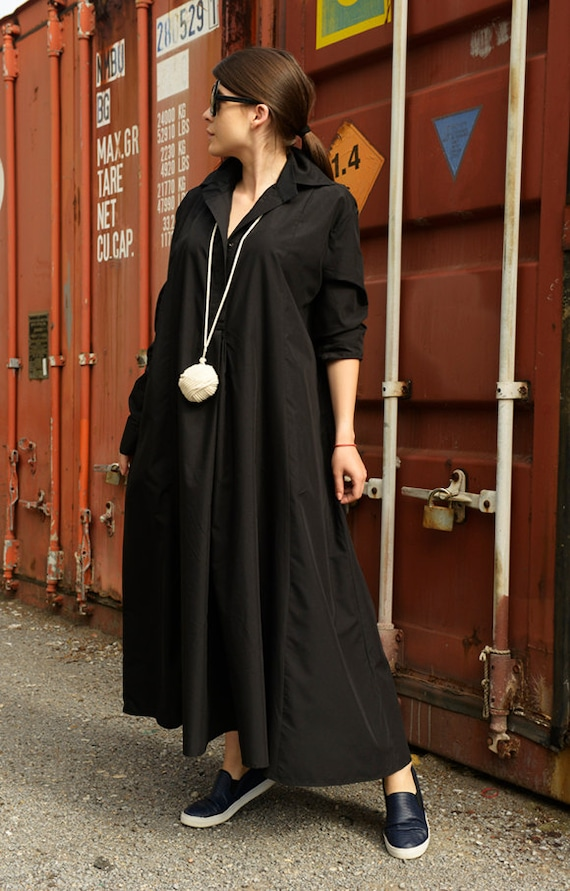 Black Shirt Dress/Black Maxi Dress/Long Sleeve Dress/Oversize Black Tunic Dress/Plus Size Collar Dress/Long Sleeve Kaftan METD0004