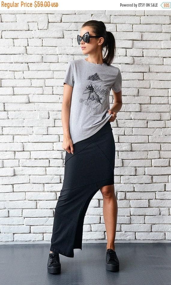 25% OFF Asymmetric Black Skirt/Extravagant Long Short Skirt/Tight Sexy Skirt/Black Cotton Skirt/Urban Style Skirt/Elastic Waistband Skirt ME