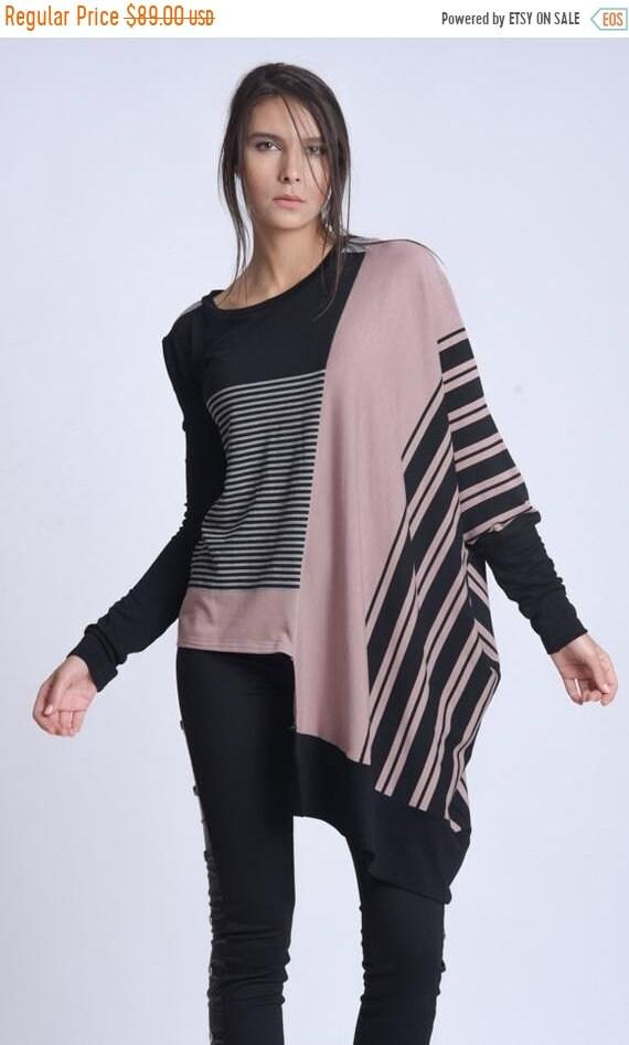 15% OFF NEW Multi Color Stripe Tunic/Extravagant Maxi Tunic Top/Plus Size Tunic Top/Extravagant Colorful Blouse/Bat Sleeve Top/Asymmetric Ca