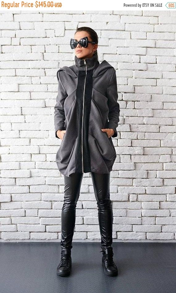 25% OFF Oversize Warm Grey Winter Coat/Draped Hooded Loose Jacket with Pockets/High Quality Cashmere Fashion Coat/Plus Size Jacket METC0014