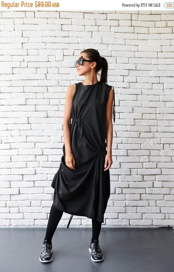 20% OFF Extravagant Casual Loose Dress/Asymmetric Black Tunic Top/Loose Sleeveless Tunic Dress/Maxi Black Dress/Drape Oversize Loose Top MET